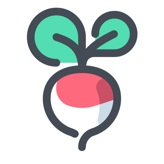 Rzodkiewka icon. It's a logo of a radish. The radish looks like it was just plucked off the ground. It has a healthy body and great looking stem.