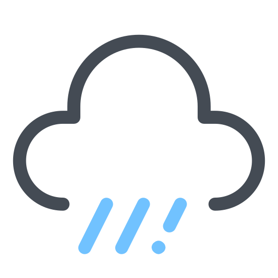 Deszcz icon. This is a drawing of a rain cloud that is flat on the bottom with three curvy lines coming up the sides and on the top. There are three dashed lines coming out the bottom of the cloud. There are two little dashes in each line.