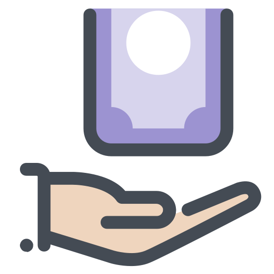 Refund icon. It's a logo of a hand on the bottom with money falling into it. The hand is facing upward to receive the money and the wrist is on the right and the fingers pointing to the left. There are two bills of money going to the hand from the top.