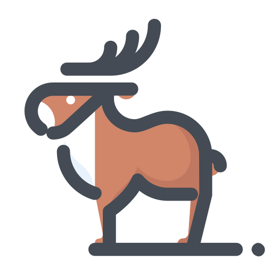 Renifer icon. The image is an animal. The animal is facing forward and has four antlers. There are two eyes and a nose. The animal has two ears and the mouth is not visible. The body of the animal is not shown either.