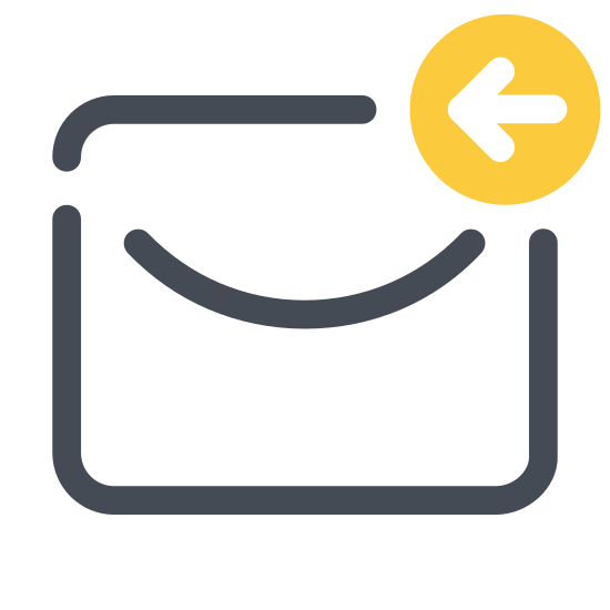 Reply icon. There is a sealed envelope with an arrow laying slightly above the envelope's bottom edge. The arrow has a curved end, and its front is pointing towards one side of the envelope.