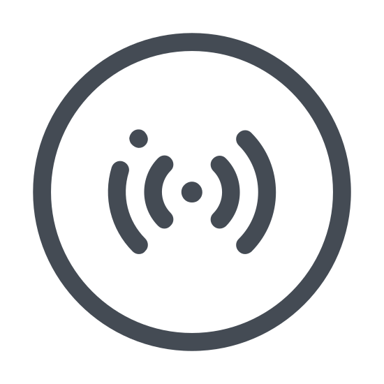 Sygnał RFID icon. This is a logo with a small filled in circle in the very center. To the left and to the right of this circle are three sets of lines, each a bit longer than the one before it closest to the circle. These lines curl to wrap around the circle.