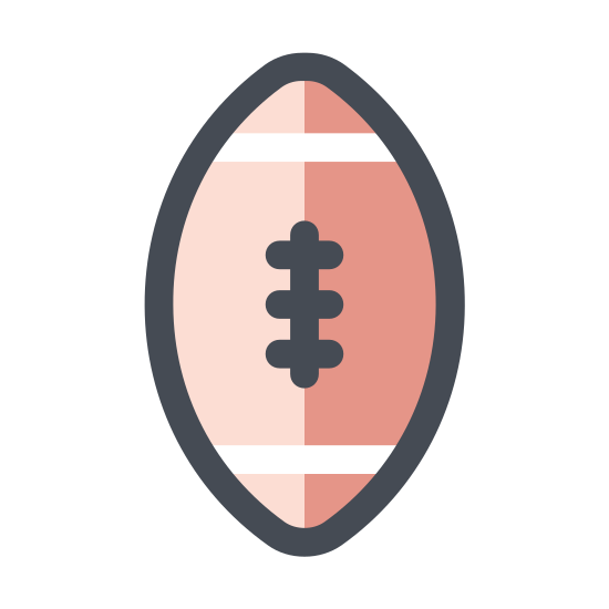 Rugby icon. A picture of a diagonal rugby ball. The ball looks like a circle that has been squished a little bit. There are three laces keeping the ball together.