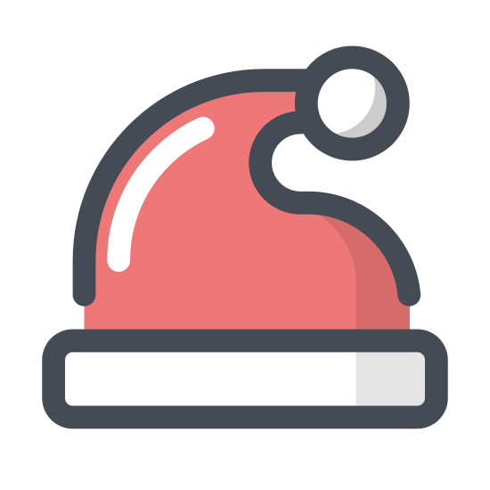 Santas Hat icon. It's a logo of Santa's hat. On the bottom is a long rectangle curved upwards slightly representing the bottom frill. Then out of that comes the cap part with folds over slightly on top to the right with the circular ball at the end.