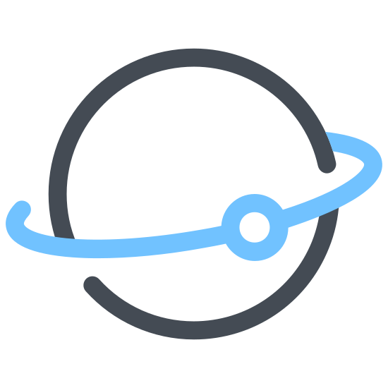 Satellite in Orbit icon. This logo is an icon of a satellite in orbit. It shows the outline of the earth in the left bottom corner and the orbit flying over it. The icon is a simple drawing in black and white. The orbit is drawn with simple symmetrical shapes.