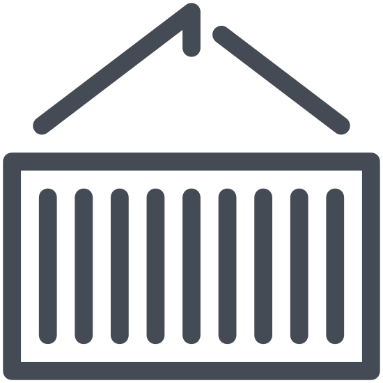 Shipping Container icon. This icon for shipping container is basically a rectangle. Inside of the rectangle there are 7 vertical lines placed equidistant to one another. The rectangle has slight protrusions at each of its corners, and there is another smaller rectangle placed along its top.