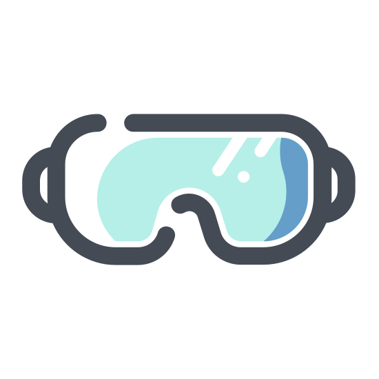 "Osprzęt spadochronowy icon. It's a logo for skydiving gear and shows goggles. The mask is facing to the left and is made up of two lines in the shape of a ""B"" pointing downwards. There are also two more parallel lines going around the mask to depict the straps."