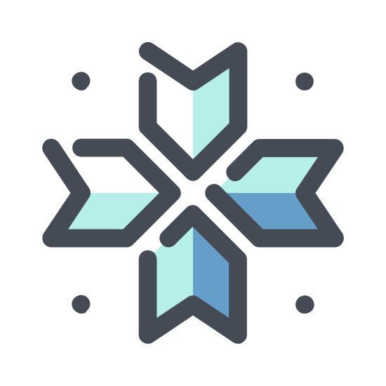 Снежинка icon. The universal symbol for snowflake, one line drawn vertically, two drawn through it making even 60 degree angles. The lines branch out twice, and in the center concaves are drawn between all three lines to form the symbol.