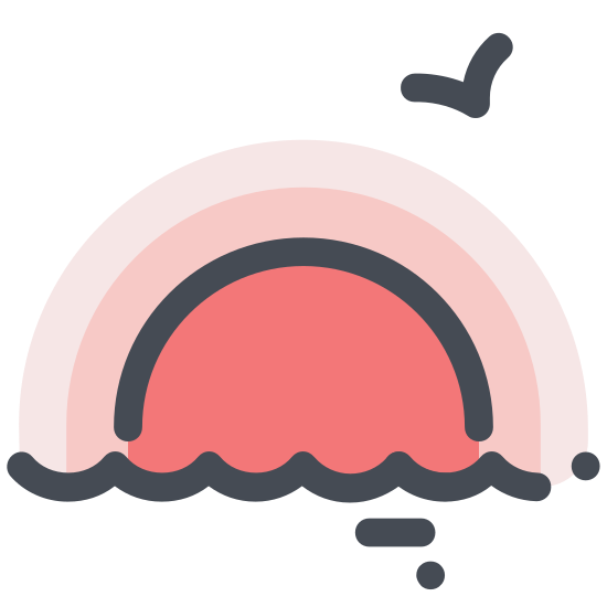 Sunset icon. There's a half circle with rays beaming off it that looks like the sun going behind a flat line. Above the sun is an arrow pointing down giving the idea of a sunset.
