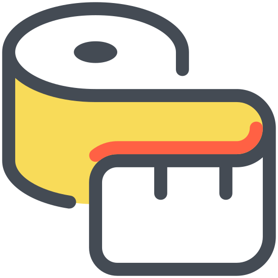 Sewing Tape Measure icon. This icon is meant to represent a flexible tape measure like the type a seamstress might use. It curves around to form an S shape and has many vertical lines that are meant to represent the measurement markings that are always found on these types of devices.