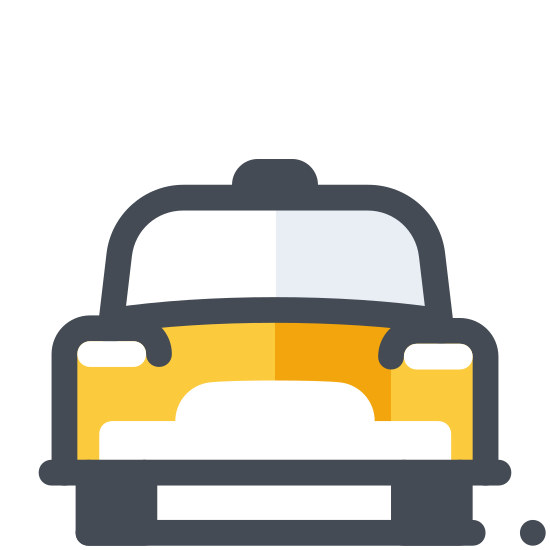 Taxi icon. This is an icon of a taxi cab.  The view would be if you were looking directly at the car.  You can see a large windshield, two headlights below it and two side mirrors on each door of the car.