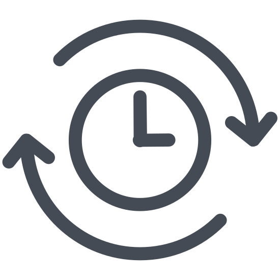 Przeszłość icon. The past icon is a represented with a clock. Instead of a complete circle like most clocks are, the clock is shown with an arrow that makes a circle. However, the arrow is going in a counter clockwise motion to show that it is going backwards or in the past.