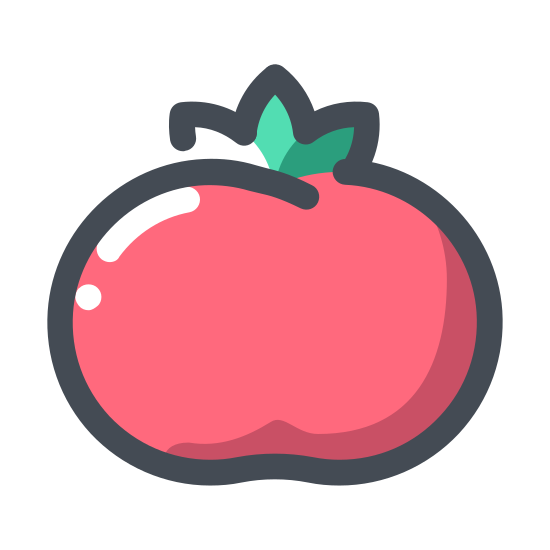Tomato icon. This icon is a picture of a small circular shape with a leafy top, the leafy top has a small point at the very top of the leafy print.