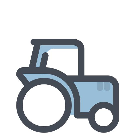 Ciągnik icon. It's a logo which represents a tractor.  The tractor is drawn with straight-lines and circles and the tractor is driving from left to right.  The tractor is simple with a covered cab an a smoke stack coming out of the hood of the tractor.
