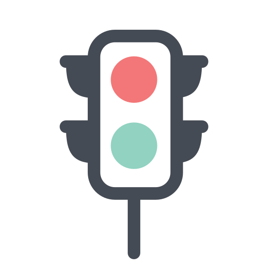 Traffic Light icon. This traffic light logo is an upright rectangle with four round corners, and three circles stacked on top of one another horizontally. Upon each side of the rectangle, there are 3 right-angle triangles with one side touching the rectangle, and the slope of the triangles are facing downwards. These triangles are supposed to be overhangs which blocks glare from the sun on the traffic light.