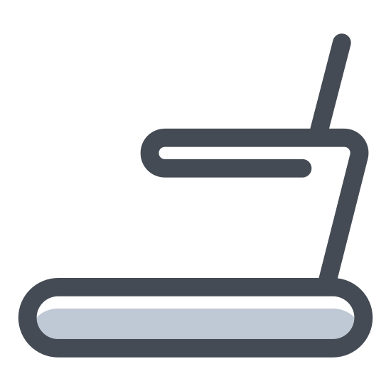 Treadmill icon. There is a bathroom symbol man  in the position of right foot down and left food behind in a running pose.  he is on a fattened elliptical that goes around to points to symbolize a treadmill, and there is a slant hat T that sticks strait up in a set of handle bars.