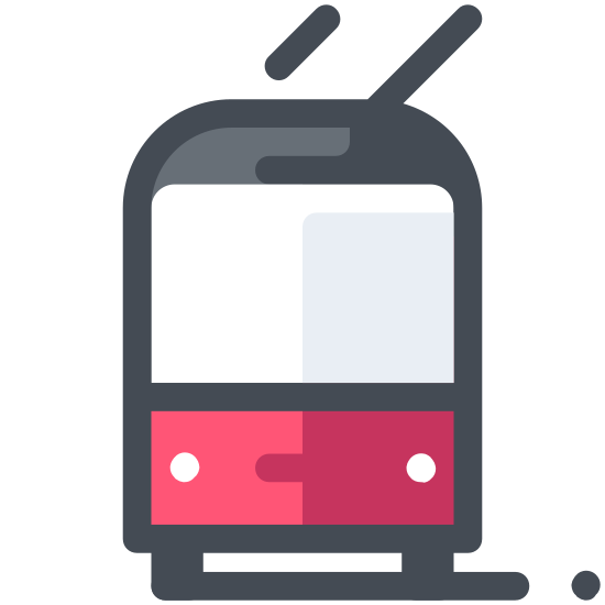 Trolejbus icon. This is a picture of a trolley facing towards you. The window in front is very large, and it has two small antenna on top. There are two headlights, and you can see the wheels on bottom