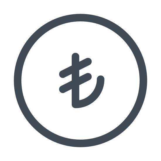 Турецкая лира icon. This shows an icon that represents the Turkish Lira. There is a circle and inside is the symbol for a Turkish Lira with looks like a backwards J with two parallel lines through the top.