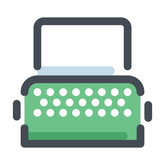 Maszyna do pisania z papierem icon. It's a logo of typewriter with paper reduced to an image of a typewriter with paper sticking out of its tray. The typewriter used to be our main source of writing, it has many keys on it and it works similar to typing on a computer keyboard.