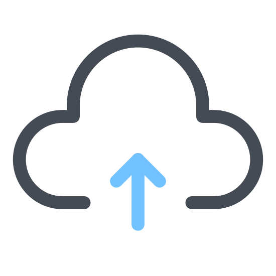 Upload to Cloud icon. The icon for upload to cloud is a cloud with an arrow pointing up. Since you are loading the images on a cloud service the arrow pointing up represents the images going into the cloud system that keeps the pictures out of your device but still easily accessible.