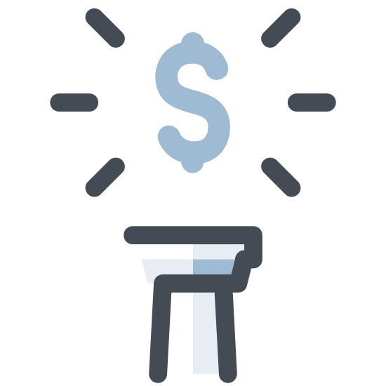 US Dollar icon. The icon is shaped like a full circle. Inside the circle at the center you can see a S shape. At the top and bottom of the shape are two small rectangle tabs directly sticking out of the center.