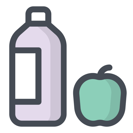 Vegetarian Food icon. It's a logo for vegetarian food with a tomato and a glass of some sort of liquid. The tomato is made of an almost complete circle with five small leaves and a stem on top. The bottle is to the right slightly behind it and is plain with only the bottle and a cap on it.