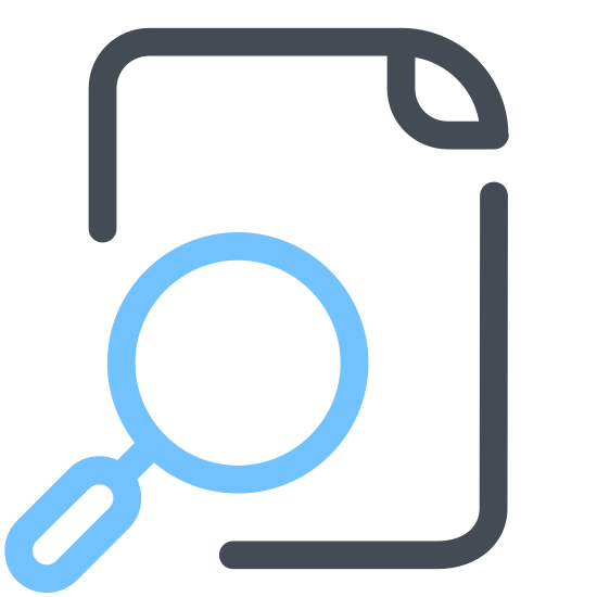 Zobacz plik icon. This is an icon representing viewing a file. There is a rectangular piece of paper with a folded over corner in the top-right that makes a triangle. A magnifying glass covers the bottom-right portion of the paper.