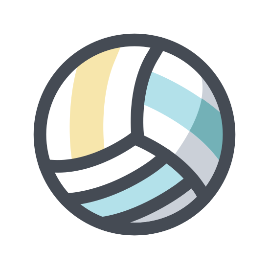 Voleibol icon. A volleyball is a sphere like ball that is very smooth and glossy. It is shiny in sunlight, and sometimes comes with patterns across it with small grooves throughout the sphere. The sphere is filled with air, and is used for sports.