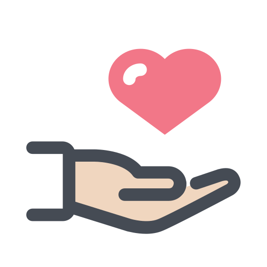 Volunteering icon. This is a picture of a right hand with it's fingers all sticking straight up. in the palm of the hand is a heart. the thumb is kind of sticking out to the side.