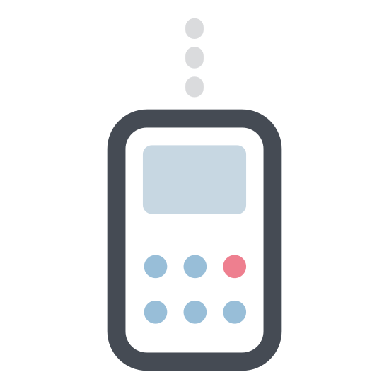 Radio Walkie Talkie icon. It is an icon to represent a walkie talkie. It is the shape of a phone with three straight horizontal lines inside. There is one vertical line on the top left side coming out and a small circle on the top right side.