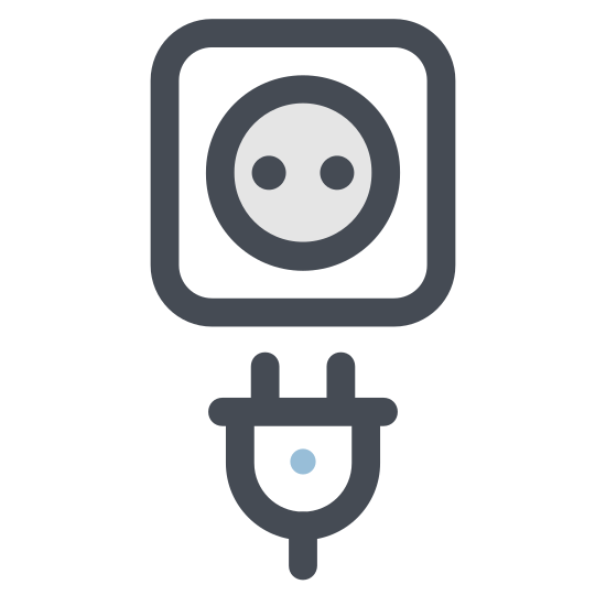 Wall Socket With Plug icon. The icon is a square with rounded edges. Inside the square, are two semi-circles inside of each other - - a smaller one being inside a larger one. Towards the bottom of the smaller circle, the lines start to run vertically downward and adjoin outside of the larger circle. In addition, on the bottom of the smaller square where the lines adjoin, there are two small vertical lines that run through and outside of the square.