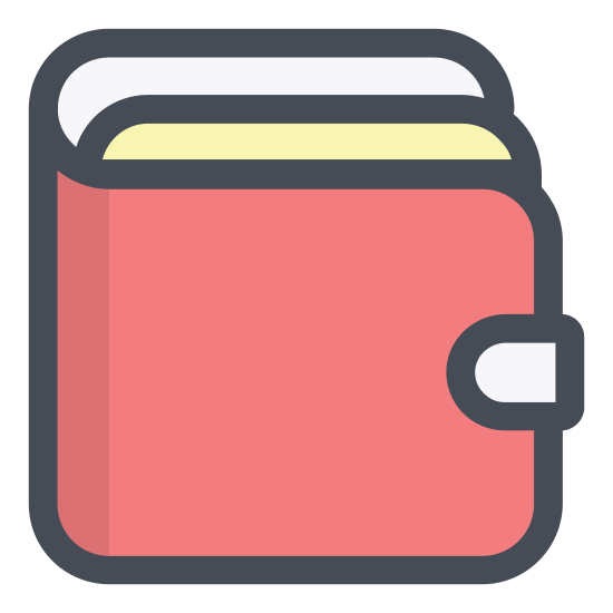 Wallet icon. This icon is made up of two rectangles with rounded corners. The rectangles are standing on end so the longer lines are horizontal to the ground. One rectangle is behind the other in such a way that you can barely see it. This represents a billfold that is slightly open.