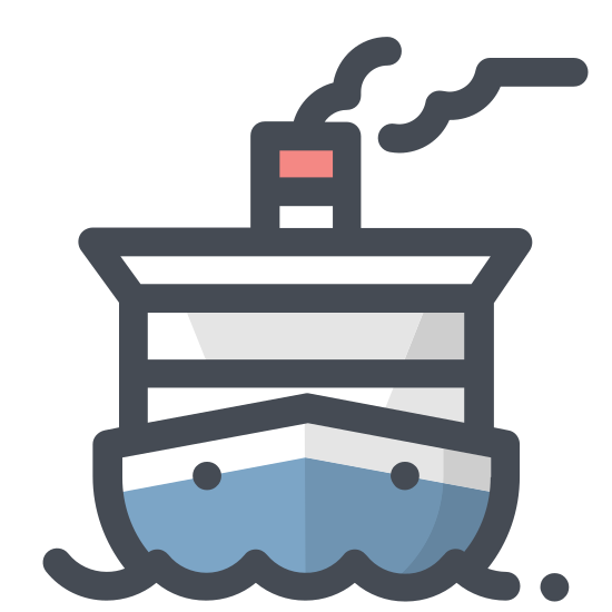 Water Transportation icon. There are two curved and pointed parallel lines at the bottom of the image that resemble waves in water. There is a hexagon shape just above the parallel lines with two ovals near the top of the shape. On top of that shape is a rectangle with the top two corners cut out and a short line extending vertically.