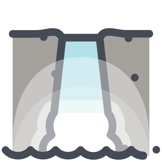 """Wodospad icon. This icon represents a waterfall and is made up of lines. There are four lines that cascade towards three lines that are circular at the bottom. The bottom lines are two circles surrounding a """"C"""" shaped line."""