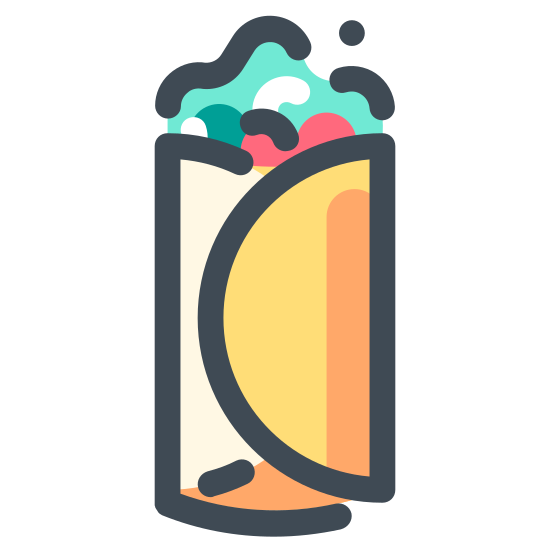 Wrap icon. There is an oblong food object made up of a tortilla filled with something semi-solid. It is standing upright on its narrower bottom end. The top end is open, showing the filling inside.