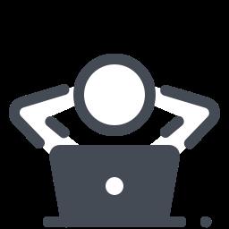 Entspanntes Arbeiten mit einem Laptop icon