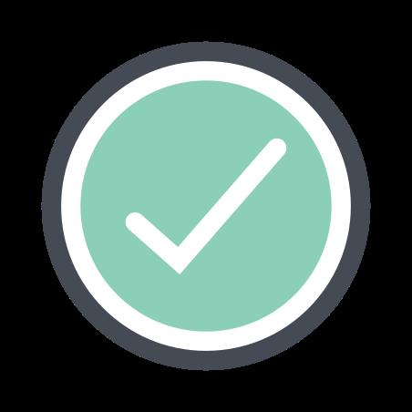 Checkmark icon in Pastel