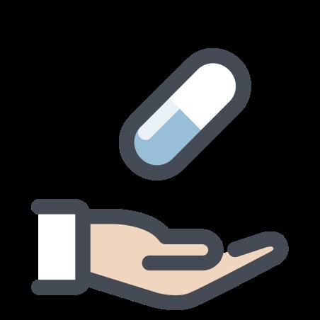 Hand mit einer Pille icon