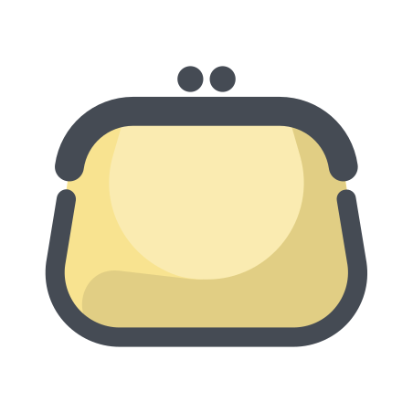 Purse Front View icon in Pastel