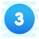 Circled 3 C icon