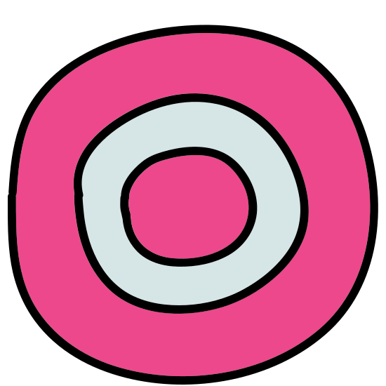 Circled 0  icon. The image is of a singled closed circle with an oval inside. The oval is shaped like the number zero. The edges of the circle and the oval are not touching each other and they are both completely closed. Not other images are touching.