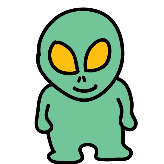 Obcy icon. This icon is depicting the head of an alien with a smiling expression on its face and one eye. The shape of its head is an oval and two antennae rest on its head.