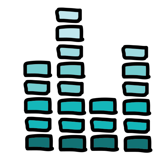 Fala dźwiękowa 2 icon. The icon is shaped like 3 different horizontal stacks of small lines. The first stack has 8 horizontal lines equally spaced on top of each other. The second stack has 4 lines and the third stack has 6 lines.