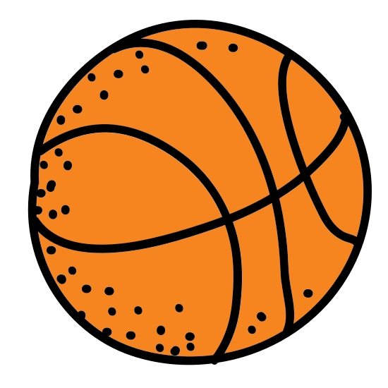 Koszykówka icon. This is a very simple icon of a basketball. It's made of a medium sized circle with curved lines running through the middle. These lines are curved in such a clever fashion that they clearly show the center of the ball belling out due to the air inside of it.