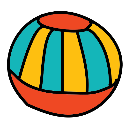 Beach Ball icon. There is a ball with three wide stripes, with each stripe emanating from a small circle in the ball's center. The stripes are filled with dots that are aligned in a grid-like pattern.