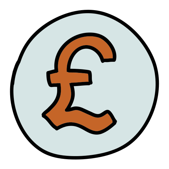 British Pound icon. This icon is depicting the symbol for the Great British Pound currency unit enclosed within a circle as if to indicate this a unit of money or a coin. The symbol rests precisely in the center of the circle.