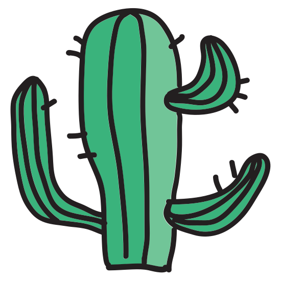 Cactus icon. It is a cactus icon. In the center there is a cylinder like shape that is wide at the top and thin at the bottom. there is a smaller version of this shape protruding from the upper left and one from the lower right. There are thorns protruding around the entire perimeter.