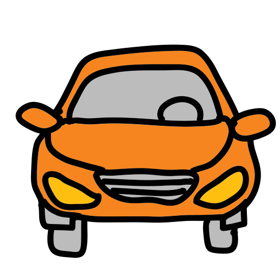Samochód icon. The icon shows a sedan type passenger car that is seen from head on from the exterior. The car has a large rounded windshield, two headlights, and two side window mirrors.
