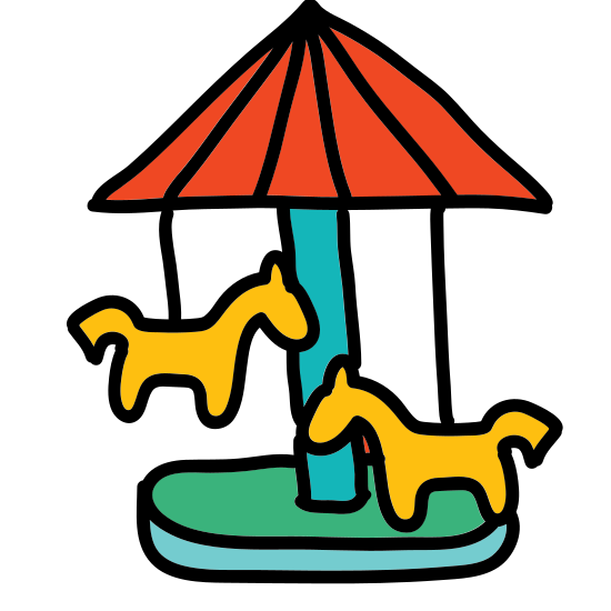 Carousel icon. The icon is a picture of a carousel. It has an umbrella-like top, with a horse in the middle, and a flat platform on the bottom.