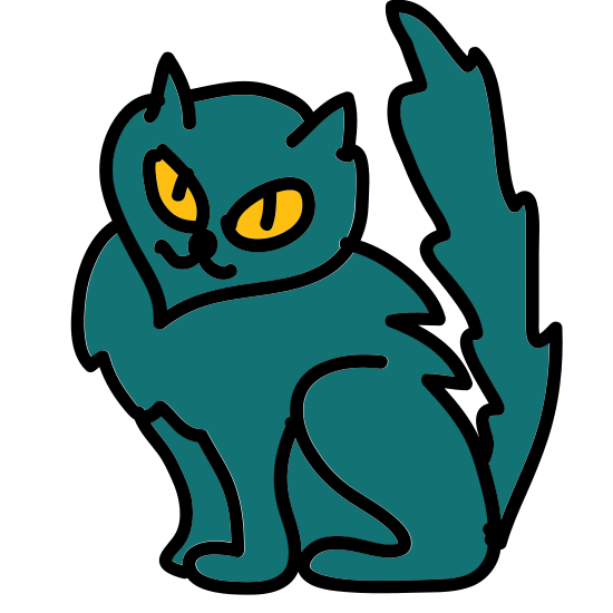 Kot icon. This is a picture of a cat with three legs. It's face is pointed towards you and you can only see it's two eyes, but no mouth or nose. It's ears are pointed upwards, and it's tail is slanted on top of it's body. The legs are very long.